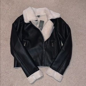 Wild Fable Faux Leather Sherpa Moto Jacket